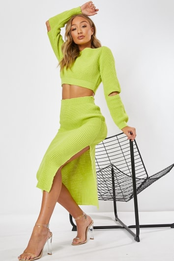 GRAINNE LIME KNITTED CO-ORD TOP AND SKIRT
