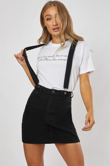 NEDEEN BLACK DENIM MINI SKIRT DUNGAREES