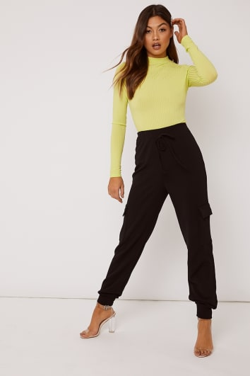 IOULIA BLACK CREPE CARGO TROUSERS