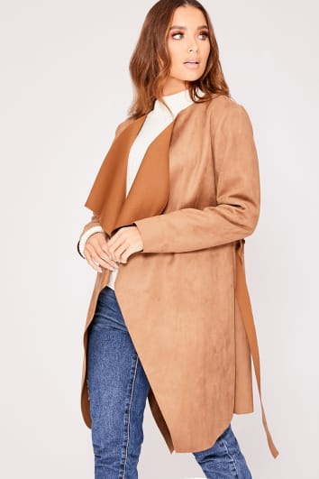 MONICA CAMEL FAUX SUEDE WATERFALL JACKET