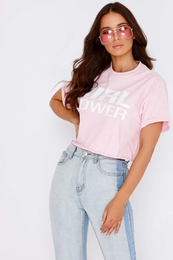 GIRL POWER PINK CROPPED TSHIRT
