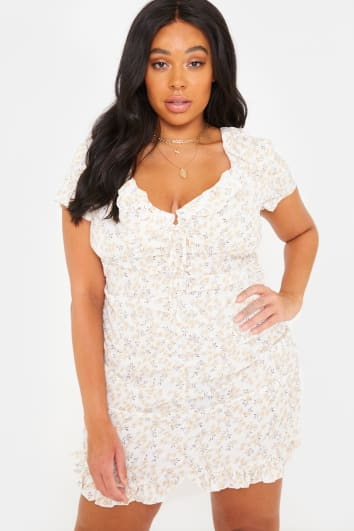 CURVE CHARLOTTE CROSBY YELLOW FLORAL PRINT RUCHED MINI FRILL HEM DRESS