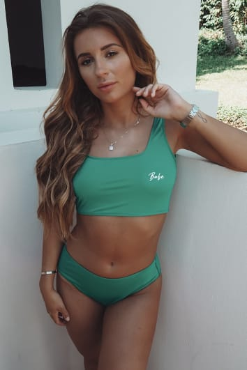 DANI DYER GREEN HIGH WAISTED BIKINI BOTTOMS