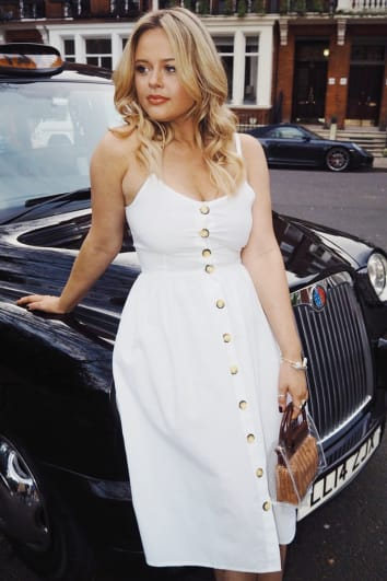 EMILY ATACK WHITE POPLIN BUTTON DOWN MIDI DRESS