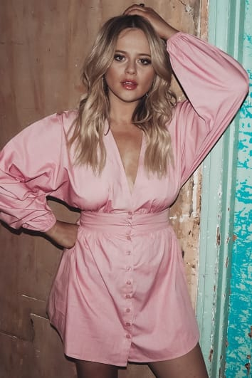 EMILY ATACK BLUSH POPLIN BUTTON DOWN MINI DRESS