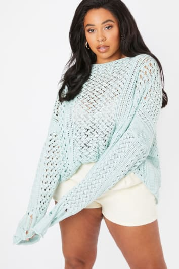 CURVE LORNA LUXE 'ME WITHOUT YOU' MINT GREEN CROCHET OVERSIZED JUMPER