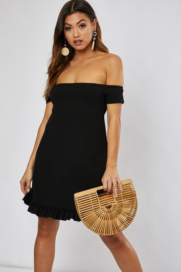 DHALIAA BLACK BARDOT MINI DRESS