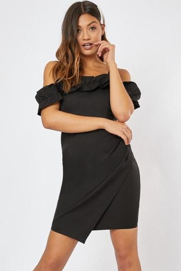 REMIE BLACK FRILL BARDOT MINI BODYCON DRESS