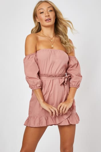 BRYDIE BLUSH POPLIN FRILL BARDOT DRESS