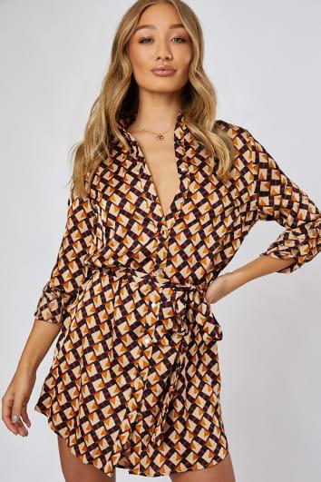 GITA BROWN GEO PRINT SHIRT DRESS