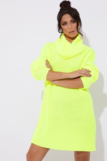 TINA NEON YELLOW ROLL NECK KNITTED JUMPER DRESS