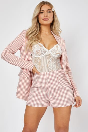 MARIETTE PINK GINGHAM HIGH WAISTED TAILORED SHORTS