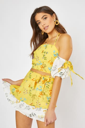 DAMIANA YELLOW FLORAL FRILL HEM MINI SKIRT