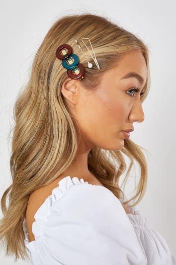 BLUE AND BROWN TORTOISE CIRCLE 3 PACK HAIRSLIDES