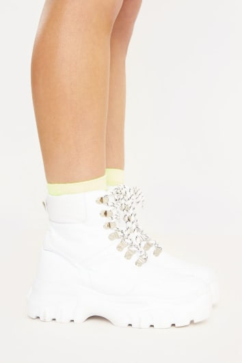 WYANDA WHITE FAUX LEATHER BOOTS