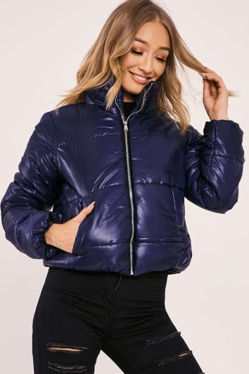 NAILAH NAVY CROPPED PADDED PUFFER COAT