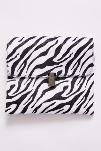 WHITE ZEBRA CROSS BODY BAG