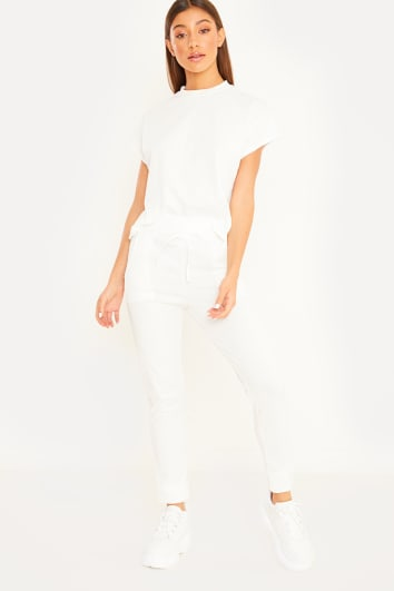 CHARMAINE WHITE RIBBED T SHIRT AND JOGGERS