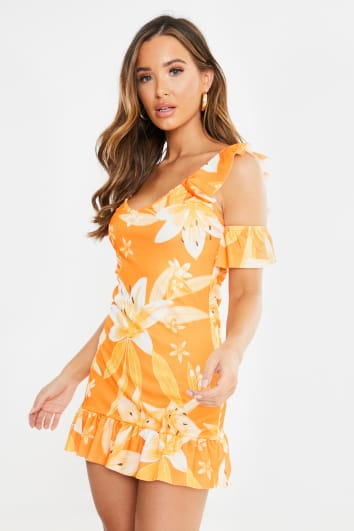 ZOAI ORANGE FLORAL COLD SHOULDER FRILL MINI DRESS