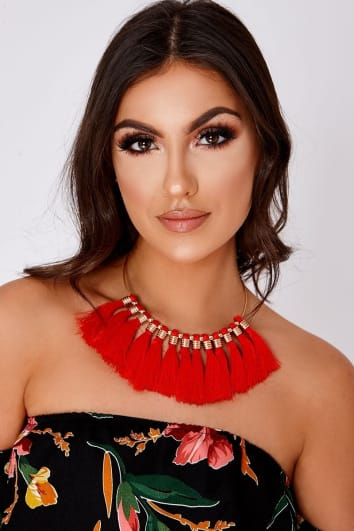 RED TASSEL NECKLACE