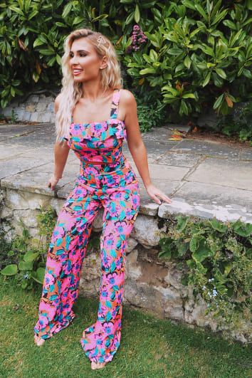 BILLIE FAIERS PINK FLORAL FRILL CROP TOP