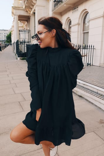 LORNA LUXE 'CORA PEARL' BLACK HIGH NECK SWING DRESS