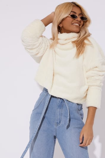 ZIZI CREAM TEDDY FUR ROLL NECK CROPPED JUMPER