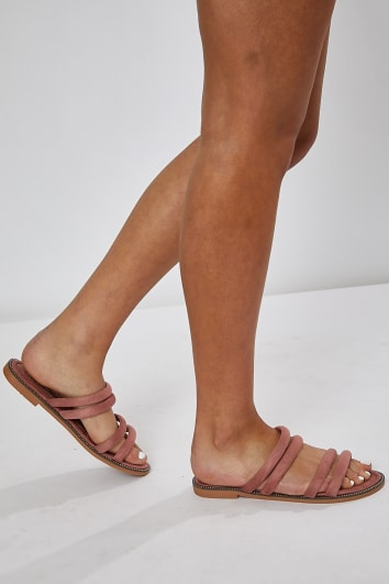 HENELY BLUSH DOUBLE STRAP SLIDERS