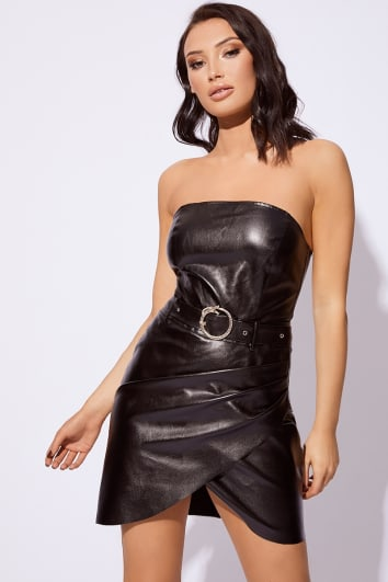CC CLARKE BLACK PU BANDEAU SNAKE BUCKLE DRESS