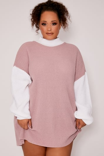 CURVE DANI DYER PINK COLOUR BLOCK JUMPER DRESS