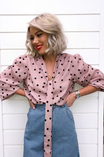LAURA JADE NUDE POLKA DOT TIE NECK BLOUSE