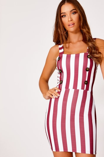 BERKILEY BURGUNDY STRIPE BUTTON DETAIL MINI DRESS