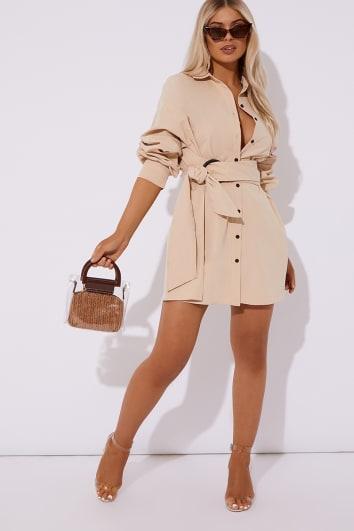 IBIA CAMEL RING DETAIL SHIRT DRESS
