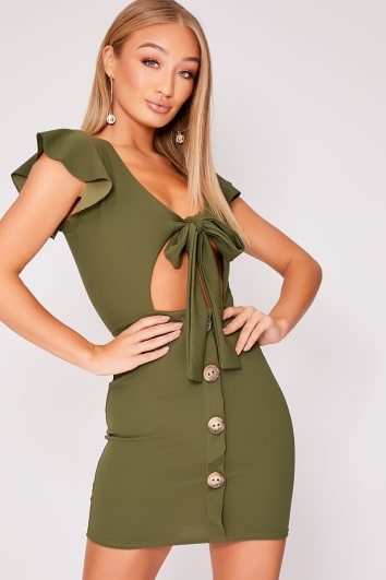 LELE KHAKI TIE FRONT HORN BUTTON DRESS