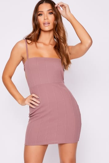 AVEH MAUVE BANDAGE RIB BACKLESS BODYCON DRESS