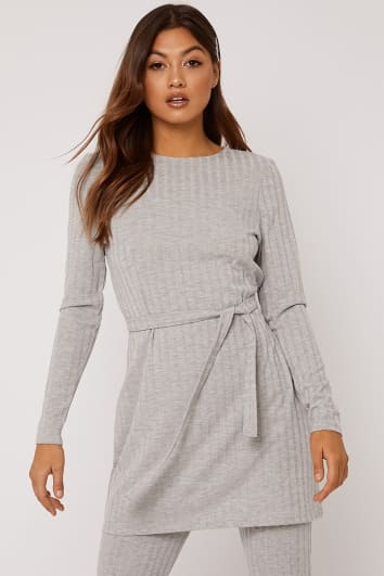 LINELLE GREY MARL RIBBED LONGLINE TOP