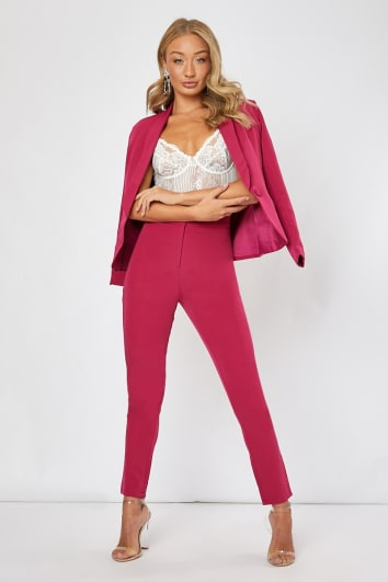BIRGIT RASPBERRY CIGARRETE TROUSERS