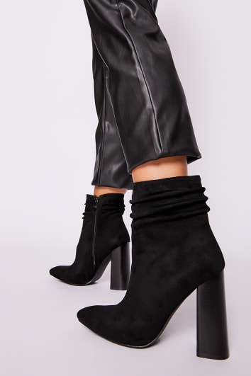 MADIRA BLACK FAUX SUEDE RUCHED HEELED ANKLE BOOTS