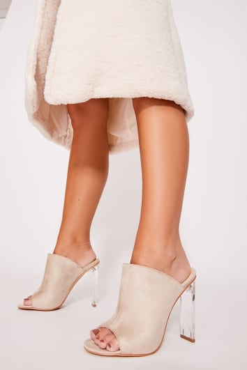 KATHRYN STONE FAUX SUEDE CLEAR HEELED MULES