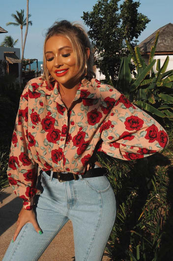 MEGINA BLUSH FLORAL OVERSIZED SHIRT