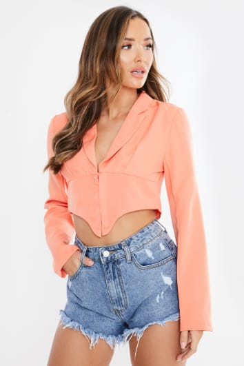 NIAH ORANGE HOOK AND EYE CROPPED BLAZER