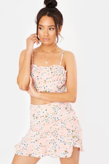 AMMARA PINK FLORAL RUFFLE HEM MINI SKIRT CO-ORD