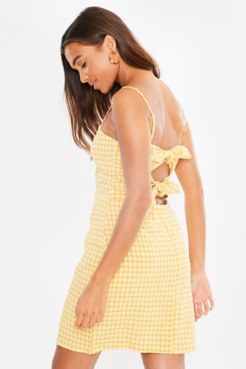 JUNIPER YELLOW GINGHAM TIE BACK MINI DRESS