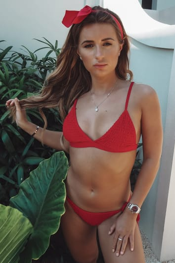 DANI DYER RED SHIRRED TRIANGLE BIKINI TOP