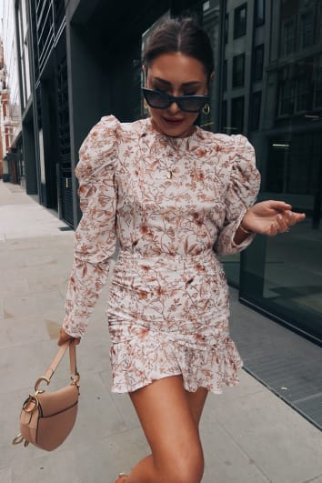 LORNA LUXE 'PRACTICALLY PERFECT' PORCELAIN NUDE MINI DRESS
