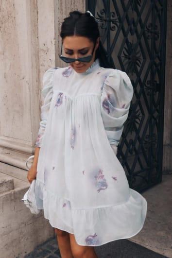LORNA LUXE 'CORA PEARL LA BOHEME CHERUB PRINT' GREEN HIGH NECK SWING DRESS