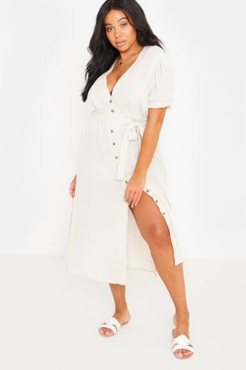 CURVE FASHION INFLUX CREAM PUFF SLEEVE TIE WAIST MIDI DRESS