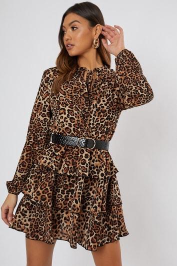 SHAWNIA LEOPARD PRINT BUTTON DETAIL TIERED DRESS