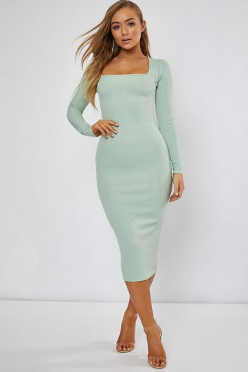 RAFFERTY SAGE BANDAGE SQUARE NECK MIDAXI DRESS