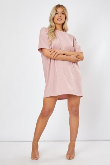 VADAH ROSE RHINESTONE T SHIRT DRESS